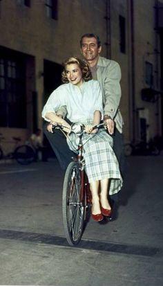 Jimmy Stewart and Grace Kelly on the set of Rear Window