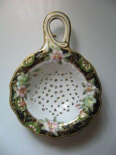 british porce,ain tea strainer | ANTIQUE TEA STRAINER, Porcelain, Floral Pattern, Gold Trim, Fine China