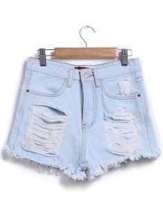 Ripped Fringe Denim Pale Blue Shorts 14.00