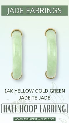 Green jade solid half hoop earrings with 14K yellow gold capped ends. Use discount code INSTA10JORDAN at checkout! Jade, Hoop Earrings, Gold, Earrings, Yellow