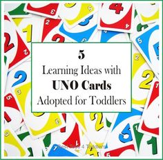 We adapted Uno Card Game for our toddler and came up with several very simple learning ideas to learn about colors, numbers and social skills.