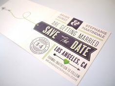 Love the airplane and it's trail on these Save the Dates by Brian Hurst.