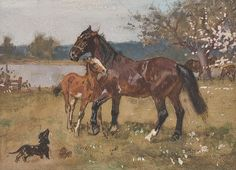 Fritz Volkers (1868-1944) - Horses and a Dachshund, aquarel/gouache, 15 x 22 cm.