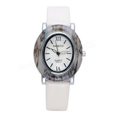 SANEESI Luxury Lady Watch Oval Imitation Jade Dial Leather Band Women Dress Clock Wristwatch at Banggood