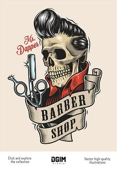 Vintage colorful Barber Shop T-shirt Design with a skull with great haircut, scissors and a razor. Barber Shop Interior, Barber Shop Decor, Salon Interior Design, Salon Design, Barber Shop Vintage, Best Barber Shop, Barber Logo, Barbershop Design, Barbershop Ideas