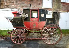 A 200-year-old Royal Mail coach known as 'Quicksilver' (pictured) because it travelled so swiftly on its route between London and Falmouth in Cornwall is going up for auction for an impressive £70,000
