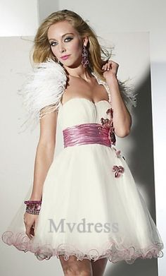 Homecoming Dresses#White #Short Dress# Empire Organza Dress