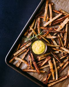 Crispy Baked Fries with Garlic Rosemary Aioli | a Couple Cooks