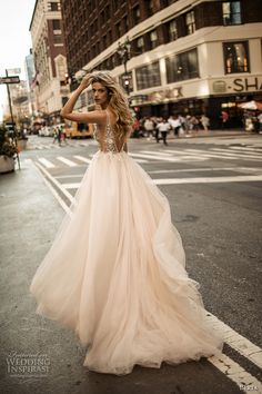 berta fall 2017 bridal sleeveless deep v neckline heavily embellished bodice tulle blush color skirt romantic sexy a  line wedding dress low back chapel train (009)  bv -- Berta Fall 2017 Wedding Dresses