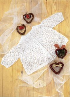 2B8220  baby matinee coat knitting pattern lacy matinee jacket lace cardigan newborn 16-20 inch 2 ply baby knitting patterns pdf instant download