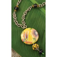 """Summer Clearance.  30% off.  5 left in stock.     This beautiful hand painted porcelain piece of jewelry is handmade with glass and celestial quartz accents. 18"""" adjustable chain with lobster claw clasp. Handcrafted in the USA.  #Gifts #Lifestyle #Girlfriends #GirlPower #Inspirations #Sisterhood #Friendship #Jewelry"""