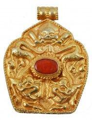Coral and Gold Dragon Prayer Box Locket