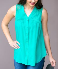 Look what I found on #zulily! Jade Macie Lace-Panel Button-Up Top #zulilyfinds