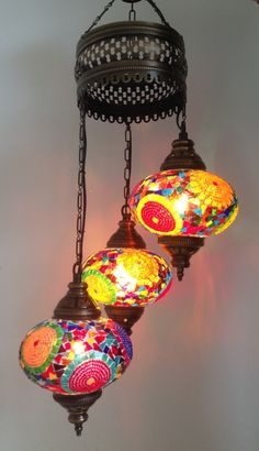Traditional Turkish Mosaic Chandelier with 3 Hand made Mosaic Bulbs