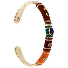 Gas Bijoux 'Massai Serti' bracelet (€145) via Polyvore featuring jewelry, bracelets, metallic, multicolor jewelry, metallic jewelry, tri color jewelry, colorful bangles and multi colored jewelry