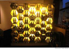 Interesting wine display that is back lighted