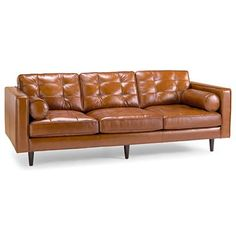 Love the clean lines and button tufted cushions of this Mid-Century leather sofa.  If only it came in black!