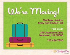 Smiley Pie Designs | Suitcases New Address Announcement - Printable File $13.00