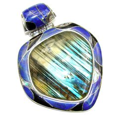 $138.95 Giant!+Perfect+AAA+Blue+Fire+Labradorite+Sterling+Silver+Pendant at www.SilverRushStyle.com #pendant #handmade #jewelry #silver #labradorite