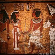 Ägyptische Malerei - Tut-anch-Amun und Ehefrau/ Wandmalerei