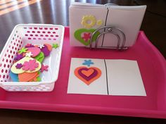 Using the foam stickers, copy the image on the right side.  Take home to show mom!