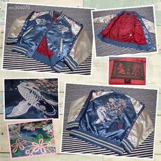 SUKAJAN Embroidery bomber jacket ( japanese M ) Souvenir satin carp Full moon # #FlightBomber