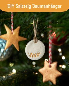 DIY salt dough tree tags - Tip: If you want the dough to become a bit whiter and smoother, just replace half a cup of flour wi - Christmas Decorations, Christmas Ornaments, Holiday Decor, Christmas Time, Xmas, Diy Crafts To Do, Wood Crafts, Paper Crafts, Navidad Diy