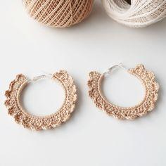 Slow Fashion, Crochet Earrings, Hoop Earrings, Internet, Beige, Couture, Shop, Projects, Handmade