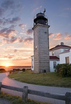 Beavertail Lighthouse At Sunset [Beavertail Lighthouse, built in 1856, was and still is the premier lighthouse in (Jamestown) Rhode Island, USA, marking the entrance to Narragansett Bay.]