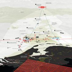 Top image and above: from Zeekracht, OMA's infrastructure master plan for the five nations facing the North Sea. The solution for sustainable energy is identified in a ring of offshore wind farms located in sites that are independent of national borders. © OMA.