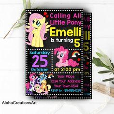 INSTANT DOWNLOAD - My Little Pony Invitation, My Little Pony Birthday, My Little Pony Birthday Invitation, My Little Pony Party, Little Pony by AlohaCreationsArt on Etsy https://www.etsy.com/listing/558736805/instant-download-my-little-pony