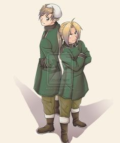 Ed and Al from Fullmetal Alchemist as Switzerland and Liechtenstein. Coincidentally, the actors for Switzerland and Lilechtenstein played Ed and Al respectively. :)