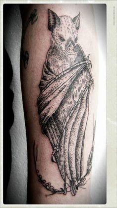 Tattoo Morcego (Antebraço) #tattoo #bat #flederweiss #dotwork
