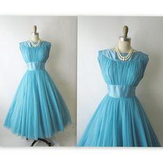 50's Chiffon Dress // Vintage 1950's Blue Chiffon Party Prom Wedding Dress S