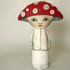 Amanita  6 3/4 Tall Chock full of polka-dotted goodness, Amanita is made of quilter's muslin that has been painted and sanded, then painted