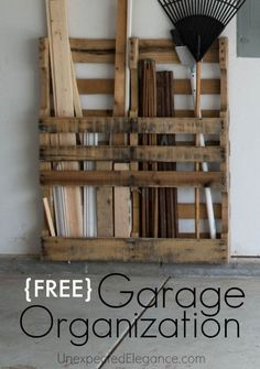Does your garage need some organization? Use a FREE pallet to help you get your clutter under control!