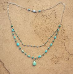 sleeping beauty turquoise and silver double by divinityjewelry, $75.00