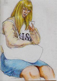 金髪のお姉さん(通勤電車でスケッチ) This is a sketch of the Blond Hair of Japanese women. I drew in a commuter train.