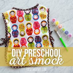 Sew a Simple Preschool Art Smock  tutorial | The DIY Mommy