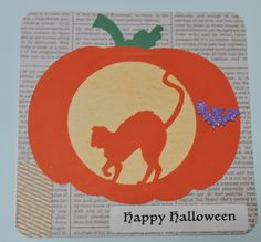 Halloween Card, Silhouette Cameo, carved pumpkin, cat