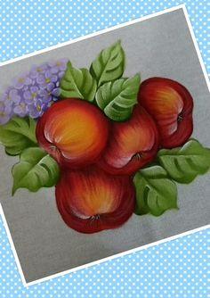 Aula maçãs - Pintura em tecido