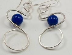 Sterling Silver Dangle Earrings Blue Jade Wire by UrbanJule, $25.00