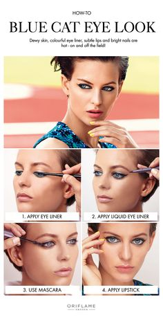 A truly sporty make-up look requires dewy skin, colourful eye liner, and subtle lips.