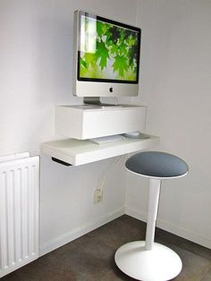 Standing Desk Thanks to Floating Shelves: Floating shelves can make interesting standing desks, if space is an issue and you want to keep costs down.