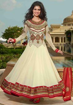 #Cream Faux Georgette #Anarkali Churidar #Kameez @ $160.04