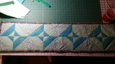 """40"""" X 10"""" table runner.  Not the most even but fun to make."""