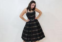 50s Dress Full Skirt Small S Dark Chocolate Brown by ScarletFury