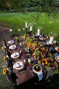 Great Backyard Fall Dinner Party PUT TWO TALBES TOGETHER FOR A BIG TABLE WITH ROOM FOR STUFF