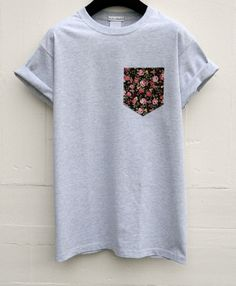 Men's Vintage Floral Pattern Grey Pocket T-Shirt by HeartLabelTees