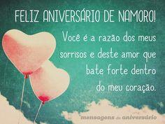 Feliz aniversário de namoro! Você é a razão dos meus sorrisos e deste amor que bate forte dentro do meu coração. (...) https://www.mensagemaniversario.com.br/voce-e-a-razao-dos-meus-sorrisos/